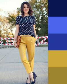 blu colore complementare giallo - www.50sfumaturedioutfit.com Colour Combinations Fashion, Color Combinations For Clothes, Fashion Colours, Colorful Fashion, Color Combos, Color Blocking Outfits, Mode Outfits, Casual Work Outfits, Fashion Outfits