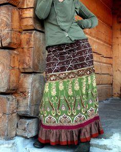 S-L Deep green embroidered India sari long skirt by jamfashion