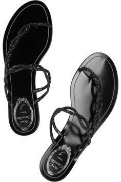 René Caovilla Swarovski-crystal-embellished crepe sandals NET-A-PORTER.COM