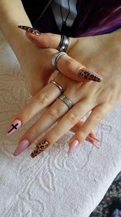 Coffin leopardo leopardato strass Croce dorato nails nailart nail