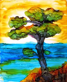 Lonely pine tree  a landscape in ink  9 x 11 by Kitty69 on Etsy, $50.00
