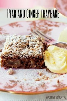 This delicious traybake makes enough for 16 slices and every bite is a taste sensation. Serve with custard, cream of a generous dollop of ice cream. Tray Bake Recipes, Tart Recipes, Sweet Recipes, Baking Recipes, Dessert Recipes, Hot Desserts, Baking Hacks, Pudding Recipes, Pear And Ginger Cake