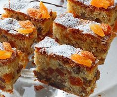 white chocolate fruit cake with apricots, walnuts and raisins Chocolate Fruit Cake, White Chocolate, Polish Recipes, Polish Food, Pastry Shop, Coffee Cake, Muffin, Good Food, Food And Drink