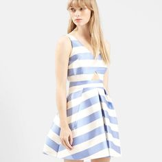 Topshop striped dress SZ 6 NWT Blue and white striped cut out dress Topshop Dresses Mini