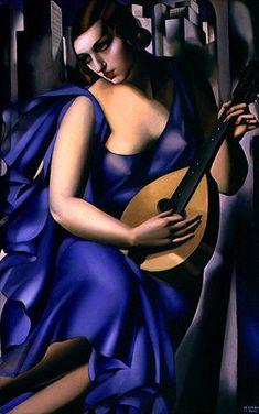 """""""Blue Woman with a Guitar"""" (1929) tableau de Tamara de Lempicka (1898-1980) peintre polonaise la plus célèbre de la période Art déco. Une exposition a eu lieu à la Pinacothèque de Paris du 18/04 au 08/09/2013."""