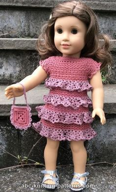 ABC Knitting Patterns - American Girl Doll Evening Dress with Ruffles