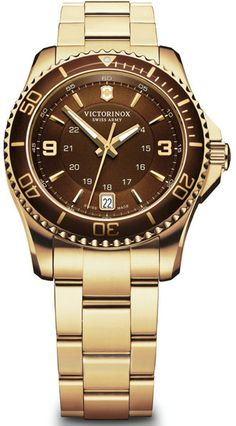 Swiss Army Maverick GS Brown Gold plated Stainless Steel Ladies Watch 241614 BY Swiss Army