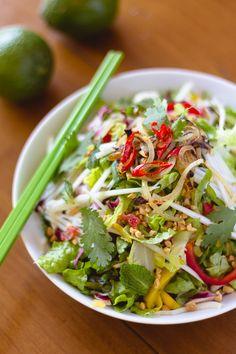 Vietnamese Papaya Salad with Chicken and Mango