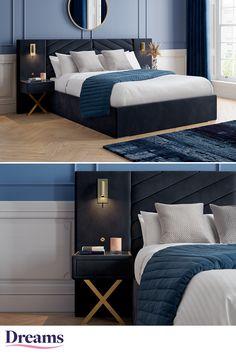 Blue Master Bedroom, Black Bedroom Design, Bedroom Green, Small Room Bedroom, Room Ideas Bedroom, Home Room Design, Bedroom Furniture Sets, Ottoman Bed, Loft Room