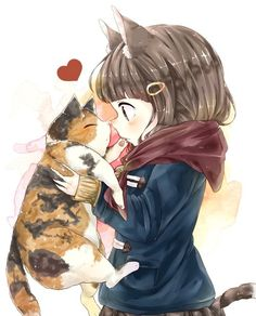 Nekomimi Anime Girl With/Holding A Neko