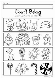 Christmas Preschool No Prep Worksheets and Activities. What doesn't belong? Austin Activities, Preschool Activities, Preschool Christmas, Christmas Themes, Christmas Lights, Kindergarten Learning, Kindergarten Worksheets, Owl Classroom, Transitional Kindergarten