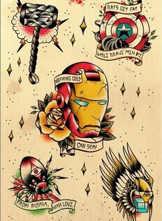 WHAAAAAAAAAAAAAAAAAAAAAAAAAAAAAAAAAAAAAAAAT?!!!!!!!! Avengers traditional american tattoo designs These just broke me.