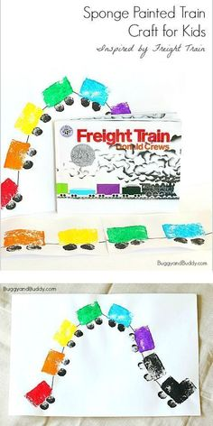Sponge Painted Train Art Project inspired by the popular children's book Freight Train! An easy craft for toddlers, preschool, and kindergarten and a great addition to a unit on transportation. ~BuggyandBuddy.com #artsandcraftstraining