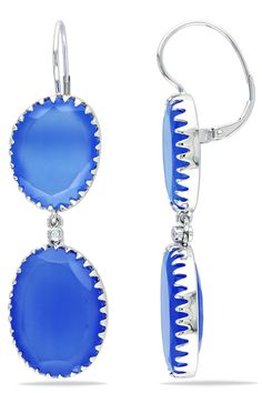 Eclipse 54.75 Ct Blue Chalcedony And Diamond Earrings In 14k Gold