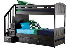 Cottage colors twin/twin step bunk bed.  Great idea with storage under bottom bunk and steps.