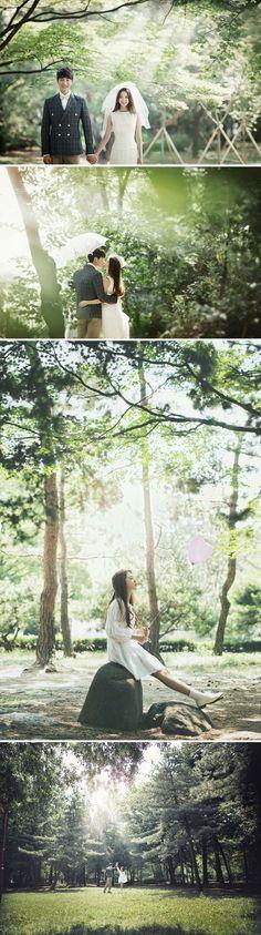 Korea outdoor pre-wedding photoshoot! Love the lush greenery!