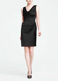 Chic and sophisticated, this short style is perfect for any bridal party and boasts plenty of wear-again appeal!  Sleeveless cowl neck bodice is elegant and flattering.  Subtle draping across the midsection hides any flaws.  Stretch satin shapes a comfortable and sleek silhouette.  Lined Bodice. Back zip. Imported polyester. Dry clean only.  Apple, Black, Malibu and Plum are available in stores and online.