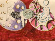 Original Animal Drawing by Leni Smoragdova Animal Drawings, Pencil Drawings, Hidden Face, London Art, Marker Art, Surreal Art, I Saw, See It, Art Day