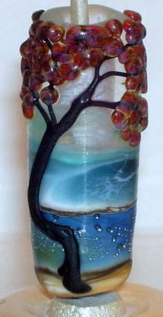 WSTGA~SEA SIDE TREE~OCEAN MOON European charm BRACELET lampwork glass bead SRA #WindSweptTreeGlassArt #HandmadeOneofakindLampwork By Molly Cooley