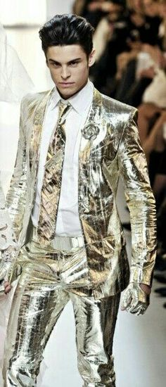 Metallic gold suit