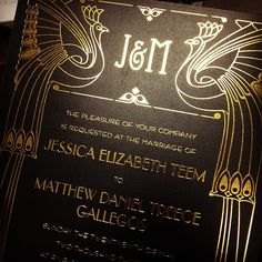 Ahhh! One of our most stunning #artdeco #letterpress #weddinginvitations ever printed!! #peacock #monogram #goldfoil #weddings