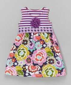Purple Floral Bow Babydoll Dress - Toddler & Girls
