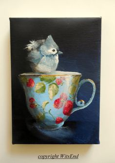 'TITMOUSE TEA'. 14th in series. Bird Teacup painting original still life by 4WitsEnd, via Etsy
