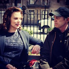 Debi and Steve Buscemi having a NYC moment, chewing the fat.  Watch Debi Mazar in the latest episode of Younger on TV Land at http://www.tvland.com/shows/younger.