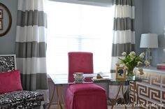 West Elm stripe shower curtain DIY window curtains!
