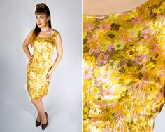 Vintage 1960s Metallic Gold Floral Cocktail Dress // 60s Sleeveless Hourglass Bombshell Golden Yellow Pink Mad Men Party Pin Up | size S M| by Birthday Life Vintage on Etsy | $88.00