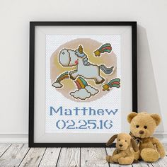 Baby Cross Stitch PDF Pattern - perfect for Baby Birth Announcement both a boy or a girl. A unique baby embroidery design for nursery.