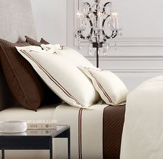 Ivory Bedding, Black Bedding, Hotel Sheets, Bed Sheets, Window Bed, Window Seats, Egyptian Cotton Bedding, Matching Bedding And Curtains, Home Decor Bedding