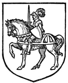 Fig. 359.—A chevalier on horseback. Date 	1909 Source 	A Complete Guide to Heraldry. Author Arthur Charles Fox-Davies oktouse