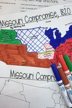 This activity will help students better understand the 1820 Missouri Compromise. They will label and color the blank map version and answer a few questions. Alternatively, students can just color on the coloring page version. It's a great way to incorporate geography in your lesson.