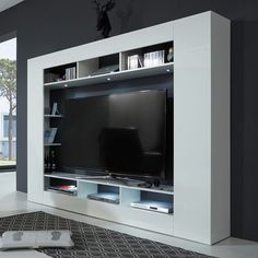 Breton Wall Entertainment Unit In White High Gloss With LED Lighting, this stunning living room unit will make an excellent addition to any modern home decor. Finished in White High Gloss. It featu. High Gloss Tv Unit, Living Room Units, Lcd Tv Stand, White Tv Unit, Small Tv Stand, Tv Stand Furniture, Tv Wand, Cabinets For Sale, Futuristic Furniture