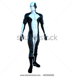 a young strong man in a white and black super suit. He stands and poses for the camera. His head is pointing up. 3D rendering, 3D illustration