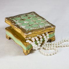Italian Florentine Jewelry Box, Vintage Shabby Chic Trinket Box, Wooden Green and Gold Old Trinket, Gifts for Her by CozyTraditions on Wanelo