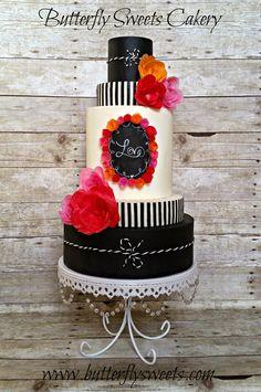 Chalkboard Love Cake by Butterfly Sweets  Chalkboard Cake, Chalkboard Wedding cake, modeling chocolate, wafer paper flowers  #chalkboardcake #chalkboardweddingcake #modelingchocolate #waferpaperflowers #butterflysweets