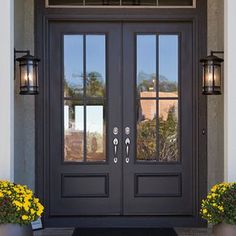 double front entry doors We will be looking into exterior door design ideas, after all, theyre the welcoming point to your home. Get going and check the exterior door design that. Double Front Entry Doors, Front Door Porch, Front Door Entrance, Exterior Front Doors, House Front Door, Glass Front Door, Patio Doors, Iron Front Door, Black Front Doors