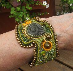 Bead Embroidered Ammonite Cuff Bracelet - Green