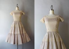 1950s Lace Trimmed Day Dress / Vintage 50s Nude by HolliePoint