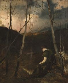 Eilif Peterssen (Hjalmar Eilif Emmanuel Peterssen, Norwegian 1852-1928) - 'Autumn Evening', 1878