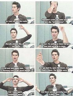 Oh Dylan! Teen wolf - Posey and Hoechlin prank Dylan O'Brien Dylan O'brien, Teen Wolf Dylan, Teen Wolf Stiles, Teen Wolf Cast, Teen Wolf Funny, Teen Wolf Memes, Stydia, Sterek, Maze Runner 2014