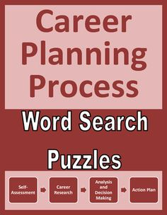 Career planning word search puzzles familiarize students with the four steps in the career planning process. Use as a supplemental resource, fast-finisher activity, or extra credit assignment for CTE, career exploration, vocational, business, work skills, and life skills students. Vocational Activities, Fast Finishers, Career Exploration, Word Search Puzzles, Extra Credit, Career Planning, Decision Making, Life Skills, Students