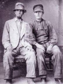 1860s Farmers - During the 19th century, sack coats (worn by the man on the left), button down shirts, and soft, felt hats, usually wide-brimmed, were frequently worn. The men in the image below, which dates from the 1860s, wear overalls, but they were not as commonly worn until around the 1890s.  1860s Farmers  1860s Farmers: Image courtesy of Joan L. Severa, Dressed for the Photographer: Ordinary Americans and Fashion, 1840-1900, 1995