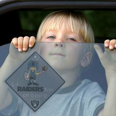 """NFL Oakland Raiders """"Lil' Fan On Board"""" Sign by Team ProMark. $5.95. Features their Favorite Team Logo and Colors. Includes a Sturdy Suction Cup to Secure to Window. Sign Measures 4.75-Inches on Each Side. Reminds Other Drivers to Consider ?Little Passengers? While Near Your Vehicle. Officially Licensed and Made in the USA. Let everyone know about your precious cargo, while letting the little ones in your family """"show off"""" their team pride around town with the Li..."""