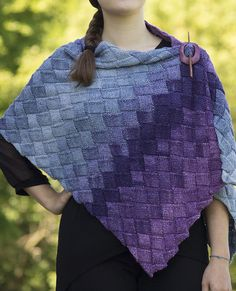 Free Knitting Pattern for Entrelac Stole - Rectangular wrap knit in entrelac with variegated yarn. Fingering weight yarn. Designed by Katie Doyle Krot