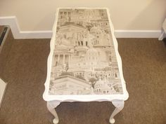 NOW SOLD Shabby Chic Table painted in Annie Sloan Old White with Paris print