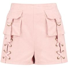 Boohoo Aurelia Pocket Front Faux Suede Shorts ($10) ❤ liked on Polyvore featuring shorts, pocket shorts and flat-front shorts