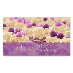 Berries n' Cream Cupcake Bakery Business Card Templates